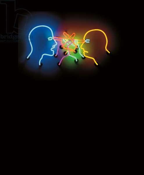 Double Poke In The Eye, 1985 (neon & white aluminium box)