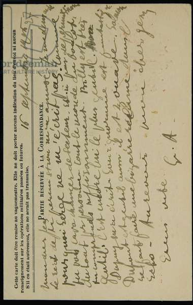 Autograph postcard to Jean Mollet, dated 16 September 1915 (pen & ink on postcard) (see also 2909392)