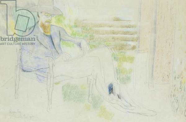 Lytton Strachey writing in the Garden, (pastel, crayon and pencil)