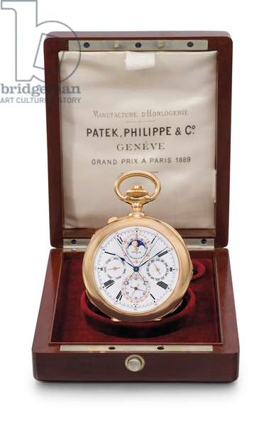 Openface minute repeating perpetual calendar split-seconds chronograph clockwatch, Patek Philippe, 1900 (pink gold)