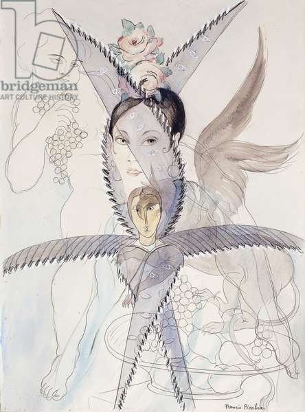 Transparency - Head and Winged Horse; Transparence - Tete et Cheval Aile, c.1928 (watercolour, gouache, black chalk and pencil on paper)