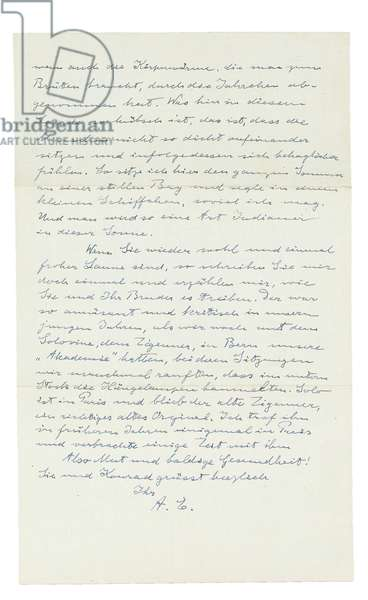Autograph letter to Paul Habicht, Old Lyme, Conneticut, 5th August 1935 (pen & ink on paper) (see also 808592)