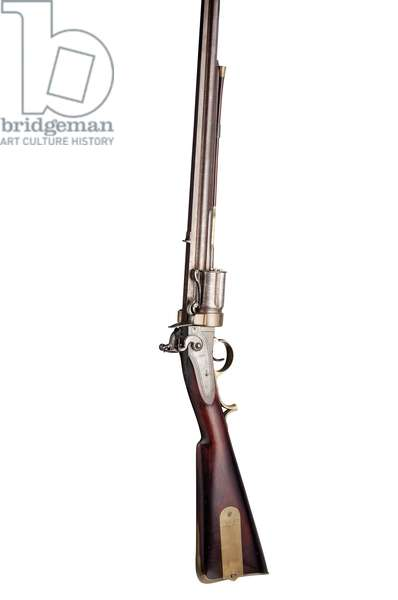 28-bore Collier patent five-shot hand-rotated flintlock revolving rifle of military type, c.1819-20 (wood, steel & brass)
