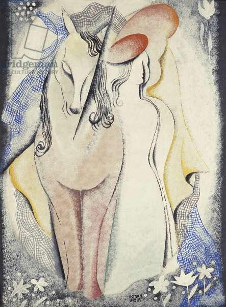 Women and Horse; Femmes et Cheval, c.1925 (gouache on paper)
