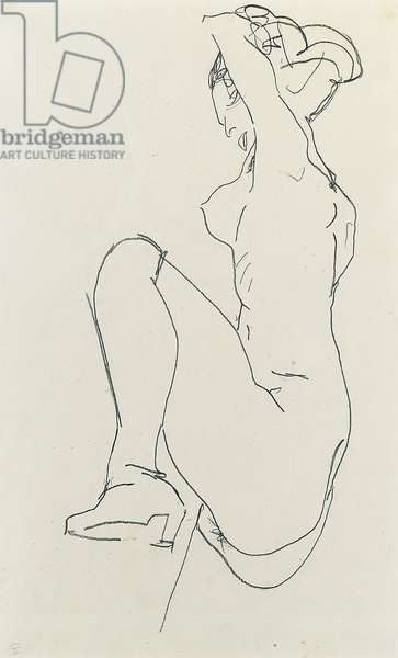 Prostrate female nude, 1913 (pencil on paper) (verso of 995690)