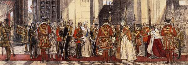 O Enter then His Gates with Praise' - The Arrival of King George V and Queen Mary at the Great West door of Saint Paul's Cathedral, Jubilee Day, 6 May 1935, 1935 (charcoal, coloured chalk and watercolour on beige paper)