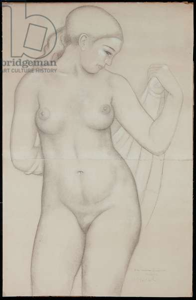 Dina from the front, study for 'Harmony', 1940 (black & white chalk on joined papers)