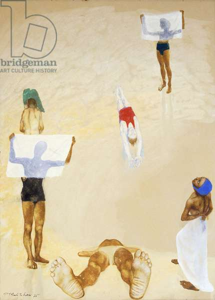 Bathers, I, 1935 (gouache and watercolour on paper laid on board)