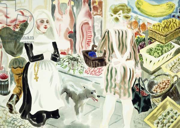 At the Market,  (watercolour on paper)