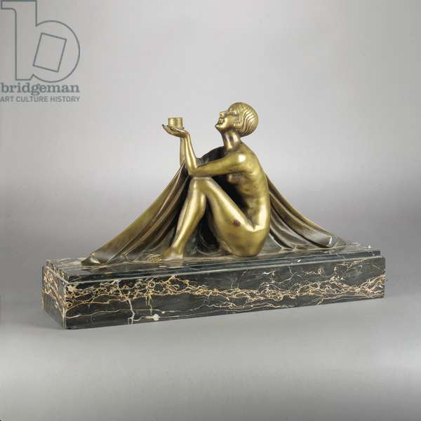 Figural table lamp (bronze & marble)