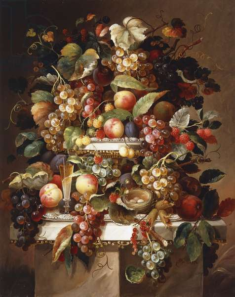 Still Life with Grapes and Peaches, (oil on canvas)