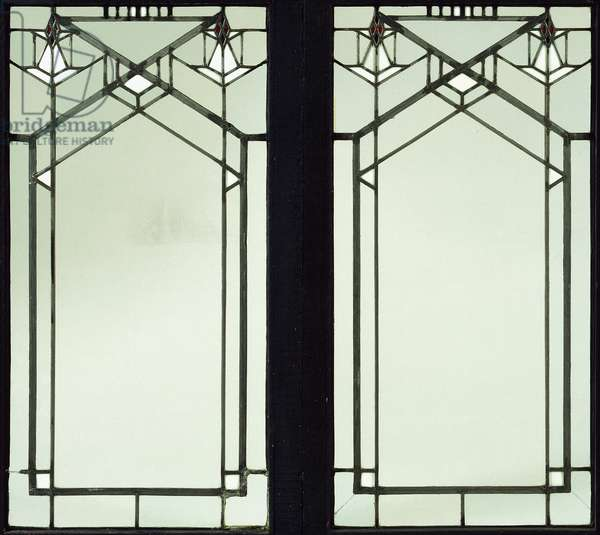 A leaded glass casement window designed by Frank Lloyd Wright for the B. Harley Bradley House, Kankakee, Illinois, c.1900 (leaded glass)