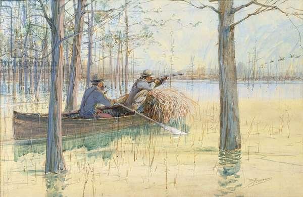 The Duck Hunters,  (gouache on board)