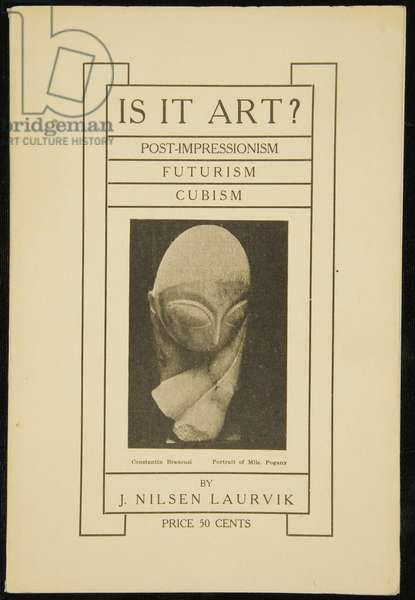 Front cover of 'Is It Art?' by J. Nilsen Laurvik, with Portrait of Mlle. Pogany, 1913 (litho)