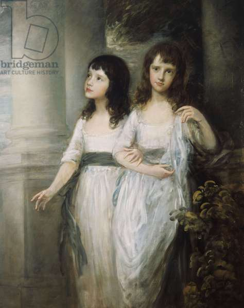 A Group Portrait of the Misses Sloper, both standing nearly full length in White Dresses with Blue Sashes,  (oil on canvas)