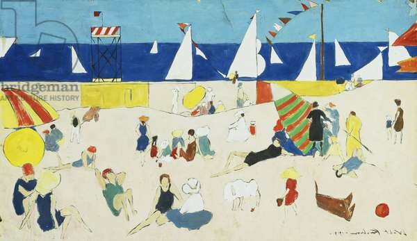 At the Beach, 1919 (pen and ink and gouache on paper)