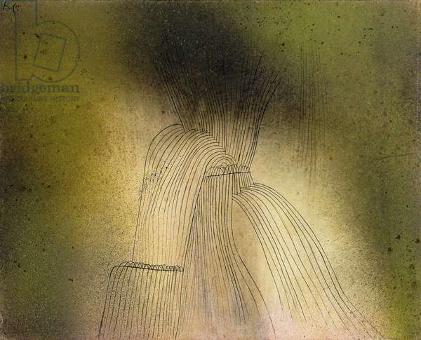 Waterfall; Wasserfall, 1927 (wash, sprayed watercolour and pen and ink on laid paper laid dow)