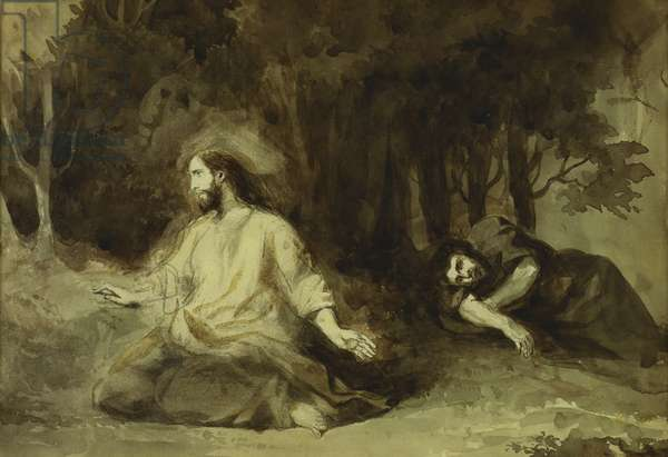 Christ at the Mount of Olives, 1826 (pencil & brown wash on paper)