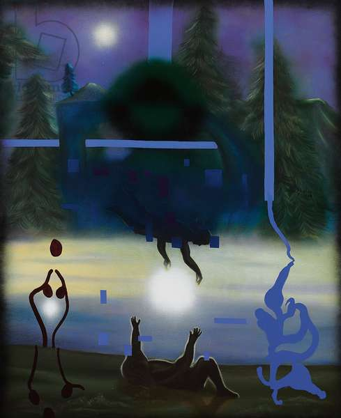 Coming for Me; Llegando por mi, 1989 (oil and acrylic on canvas)