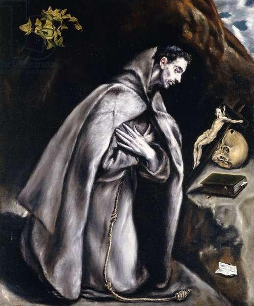 Saint Francis kneeling in Meditation,  (oil on canvas)
