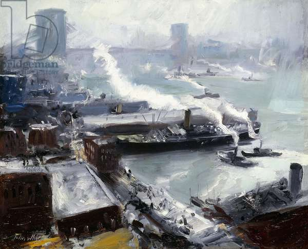 Brooklyn Bridge from the Brooklyn Navy Yard (oil on canvas)