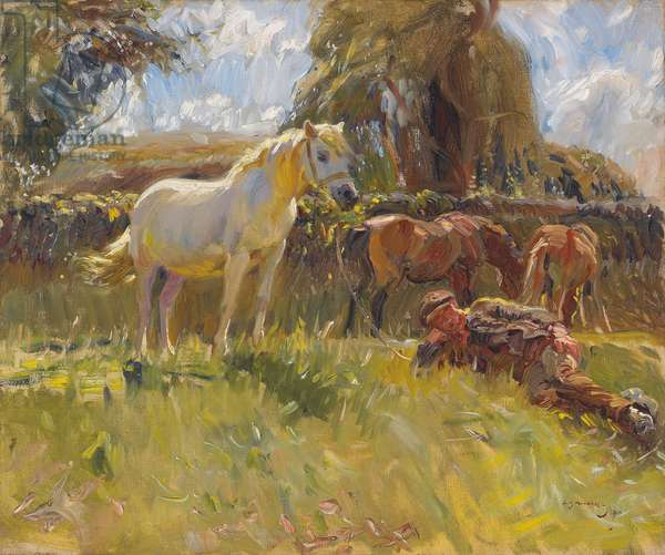 Shrimp and the Old Grey Mare on the Ringland Hills, 1910 (oil on canvas)