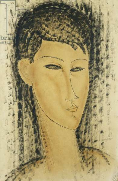 Head of a Young Women; Tete de Jeune Femme, 1914 (watercolour, pen and brush and black ink on paper)