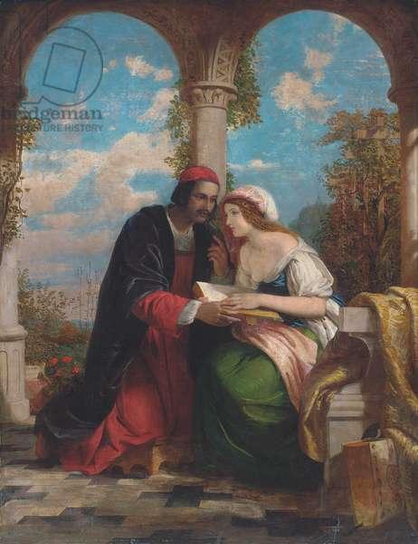 Abelard and Heloise on a terrace (oil on canvas)