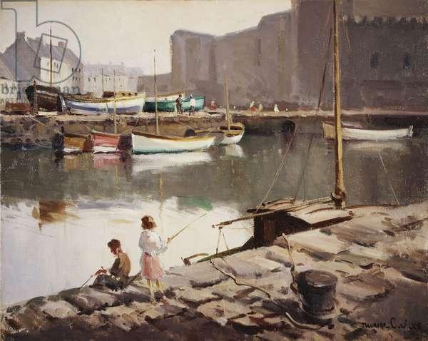 Morning, Carrickfergus Harbour, Co,  (oil on canvas)