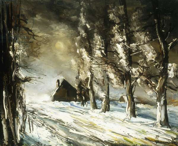 Winter Countryside; Paysage en Hiver, (oil on canvas)