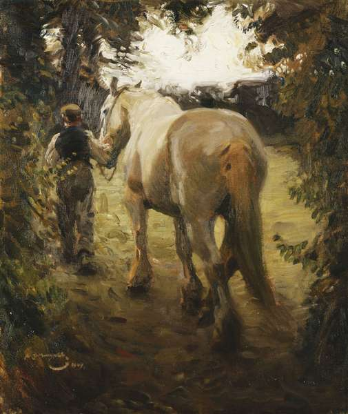 Man Leading a Grey Horse, 1909 (oil on canvas)