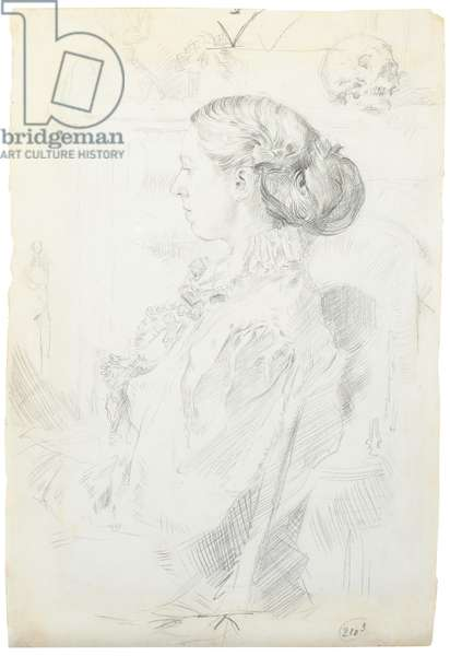 Portrait of Gwen John seated by a fireplace, c.1899-1900 (pencil on paper)