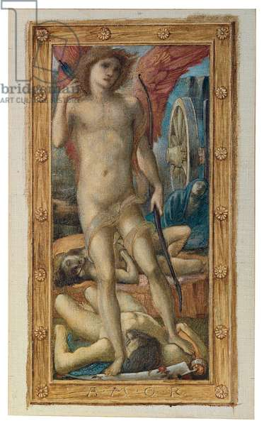 The Triumph of Love (or Amor Vincit Omnia): Amor (one of four panels), 1871 (watercolour and bodycolour heightened with gold on canvas, laid down on paper)