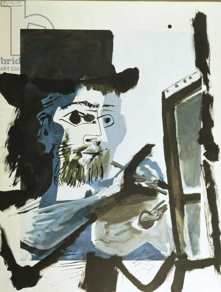 The Artist, 1964 (brush, pen & India ink over reproduction on paper)