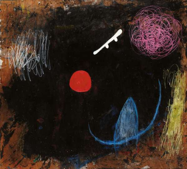 Dancer Before the Sun, 1973 (oil and wax crayon on board)