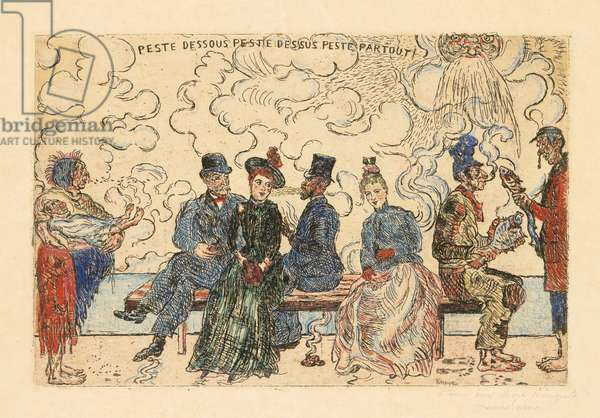 Peste dessous, Peste dessus, Peste partout (Pollution under, Pollution above, Pollution everywhere), 1904 (etching with hand-colouring in gouache)