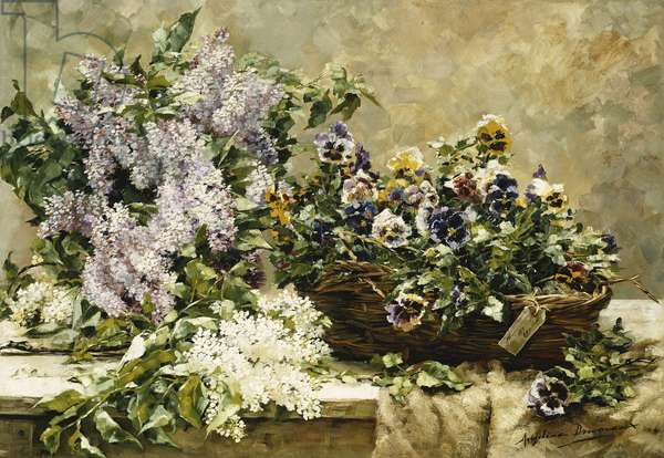 Lilac and Pansies in a Basket on a Table, (oil on canvas)