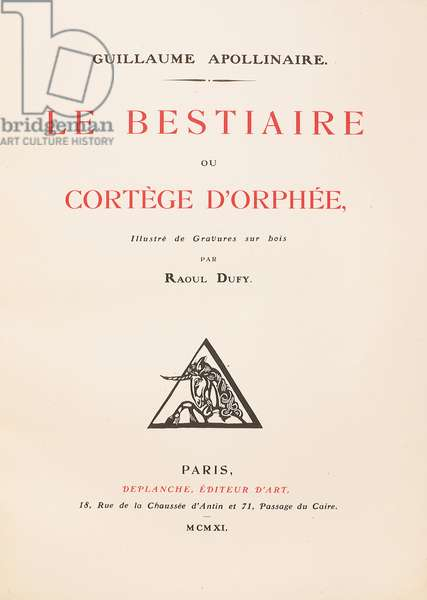 Frontispiece of 'Le Bestiaire ou Cortège d'Orphée' by Guillaume Apollinaire, 1911 (print & woodcut)