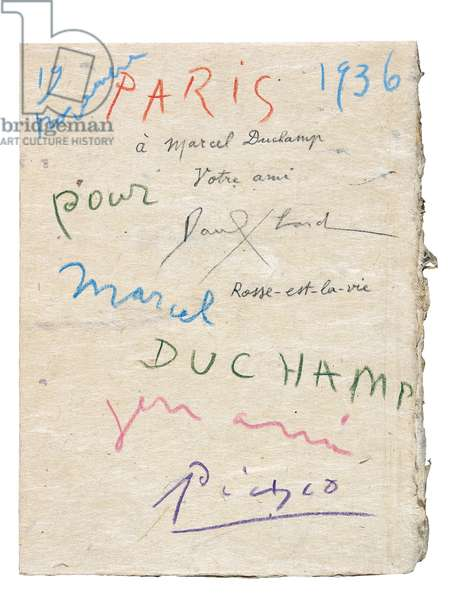 'La Barre d'Appui', collection of Paul Eluard's poems, inscribed to Marcel Duchamp by Eluard and Picasso, 1936 (pen & ink and pencil on paper) (see also 619411)