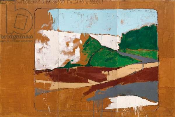 Grande particolare di paesaggio italiano a colori (Big Detail of an Italian Landscape in Colour), 1963 (enamel on paper laid down on canvas, in three parts)