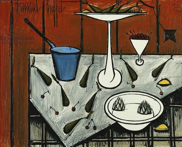 Still Life with Blue Pot; Nature Morte a la Casserole Bleue, 1984 (oil on masonite)