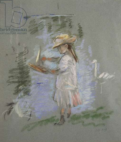 Julie in Pink by the Lakeside (recto), 1886 (pastel on blue paper)