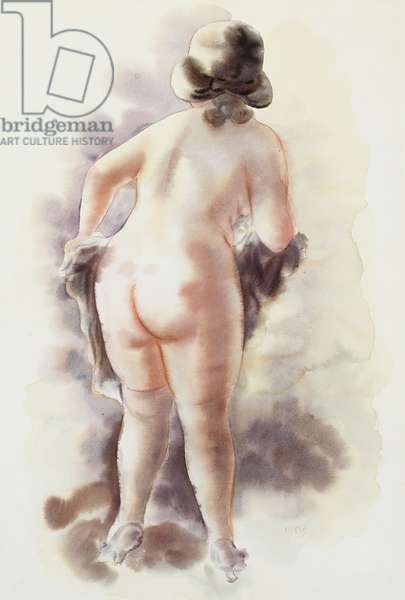Nude with a Grey Hat, 1929-1934 (watercolour on buff paper)