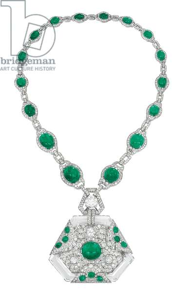 Art Deco necklace, c.1925 (emeralds, diamonds & rock crystal)