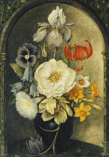 Vase of Flowers in a Niche,  (tempera on board)