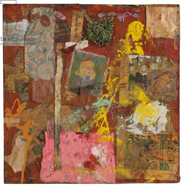 Untitled, 1954 (oil, printed paper & fabric collage with dried grass on wooden box)