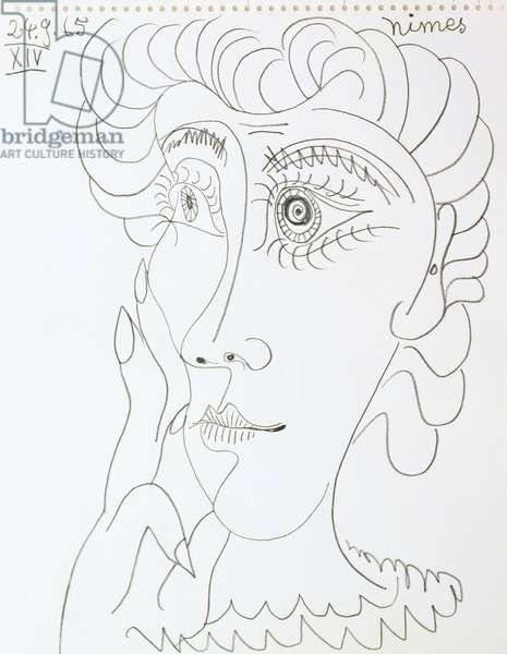 Portrait of a Woman, 1965 (pencil on paper)