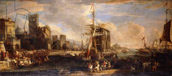 A Capriccio of a Mediterranean Seaport with Austrian Shipping, Merchants and Sailors on Quays in the Foreground, a Company of Militia near the Arch of Constantine and Castel Sant'Angelo beyond,  (oil on canvas)