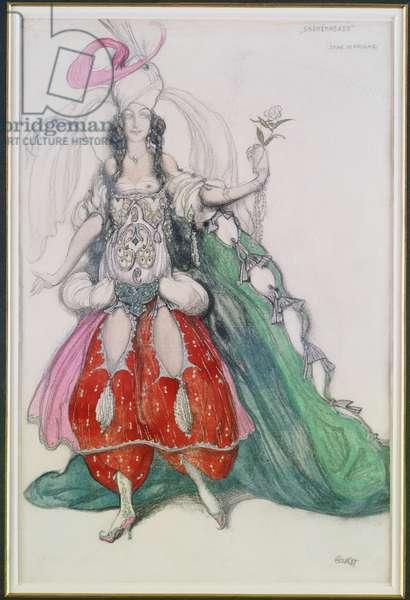 Costume design for Jane Marnac as Zobeide from 'Scheherazade' (pencil, gouache & silver paint on paper)
