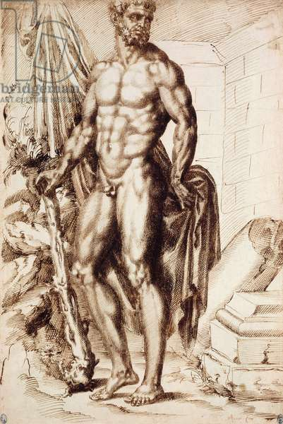 Hercules Turned to the Left, Leaning on his Club, Holding Drapery, by the Ruins of a Temple,  (pen and brown ink)
